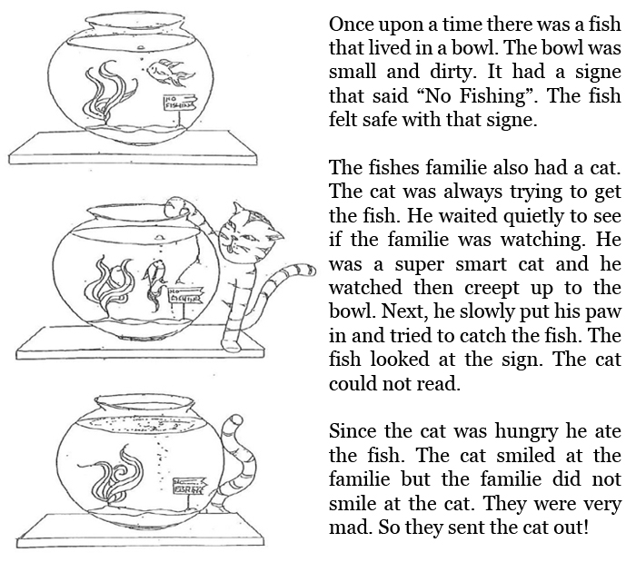 Grade 3 level 5 writing sample for Fish short story