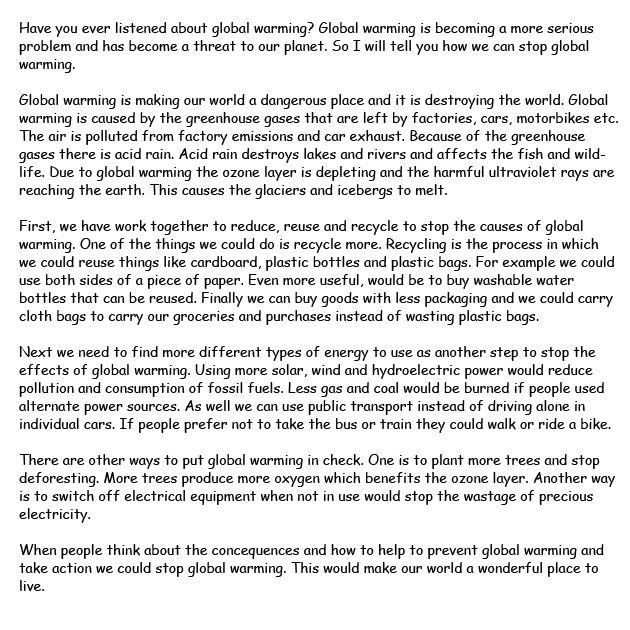 Short essay on global warming in english