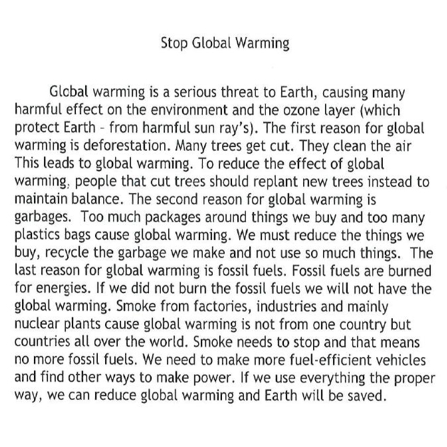 th grade essay on global warming  grade  level  writing sample th grade essay on global warming