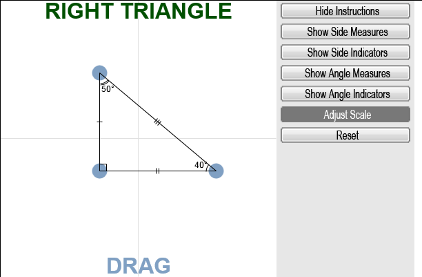 how to find unknown angles of a right triangle