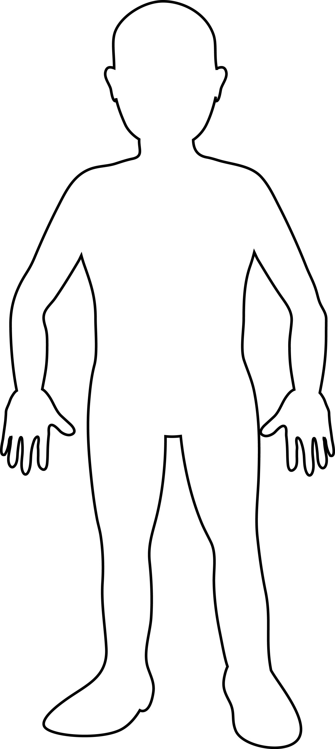 Free coloring pages of blank body outline for Body outline coloring page